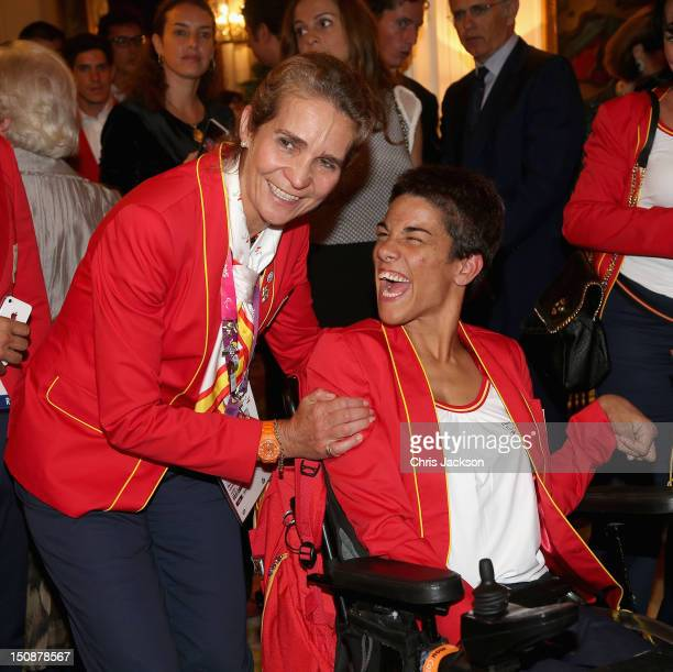 Princess Elena of Spain meets guests as she attends a Paralympic Reception at London's Spanish Embassy on August 28 2012 in London England