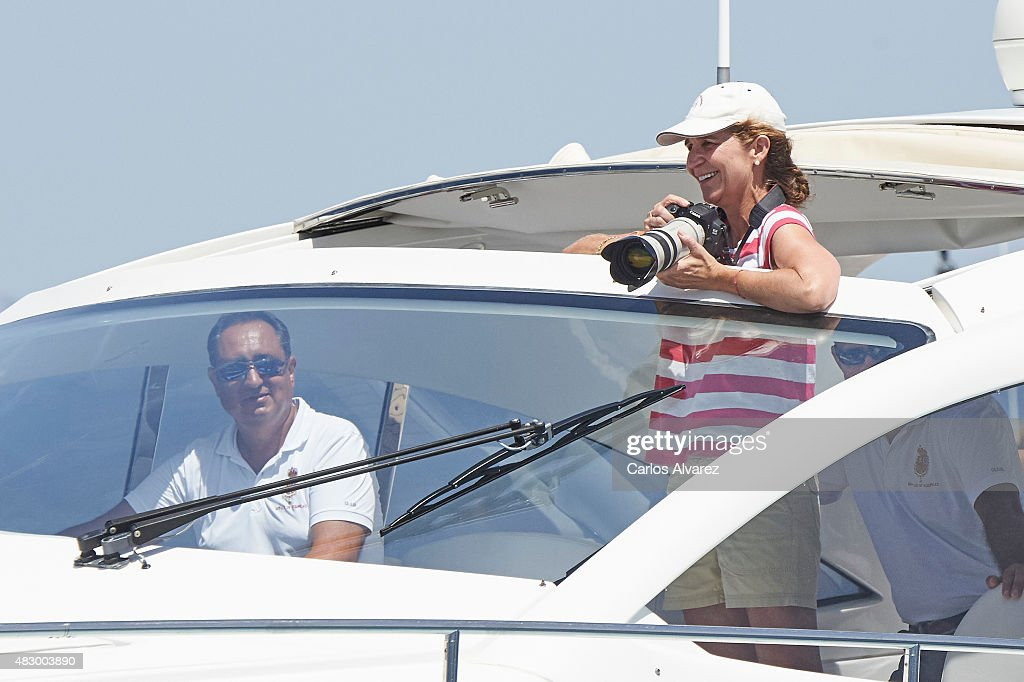 Princess Elena of Spain (R) on board of the Somny during the 34th Copa del Rey Mapfre Sailing Cup day 3 on August 5, 2015 in Palma de Mallorca, Spain.