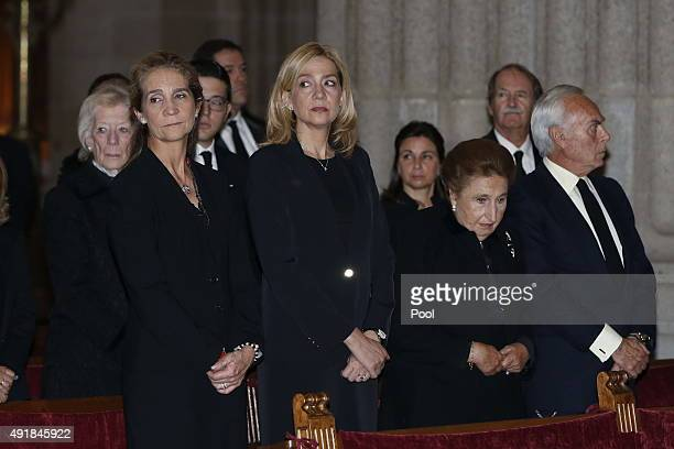 Princess Elena of Spain Princess Cristina of Spain Infanta Margarita of Spain and Carlos Zurita pay their respects at El Escorial Monastery for a...