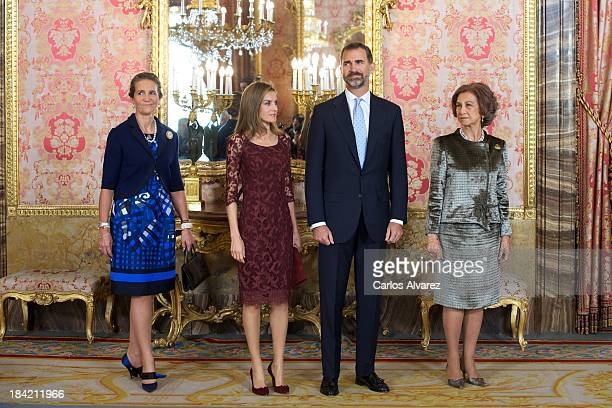 Princess Elena of Spain Princess Letizia of Spain Prince Felipe of Spain and Queen Sofia of Spain attend Spain's National Day Royal Reception at the...
