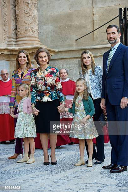 Princess Elena of Spain Princess Sofia of Spain Queen Sofia of Spain Princess Leonor of Spain Princess Letizia of Spain and Prince Felipe of Spain...