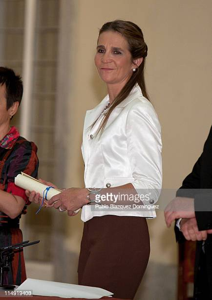 Princess Elena of Spain receives 'Children and Youth Painting Competition' Winners at El Pardo Palace on May 25, 2011 in Madrid, Spain.