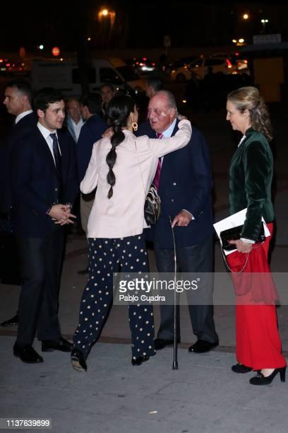 Princess Elena of Spain , Victoria Federica de Marichalar , Felipe Juan Froilan de Marichalar and King Juan Carlos attend 'San Isidro 2018'...