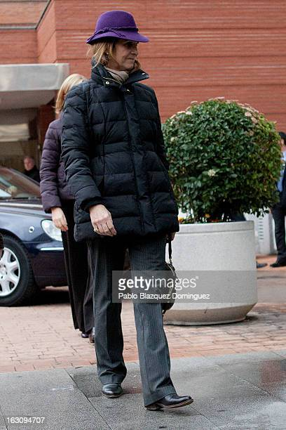 Princess Elena of Spain visits King Juan Carlos I of Spain at La Milagrosa Hospital on March 4 2013 in Madrid Spain King Juan Carlos I of Spain...
