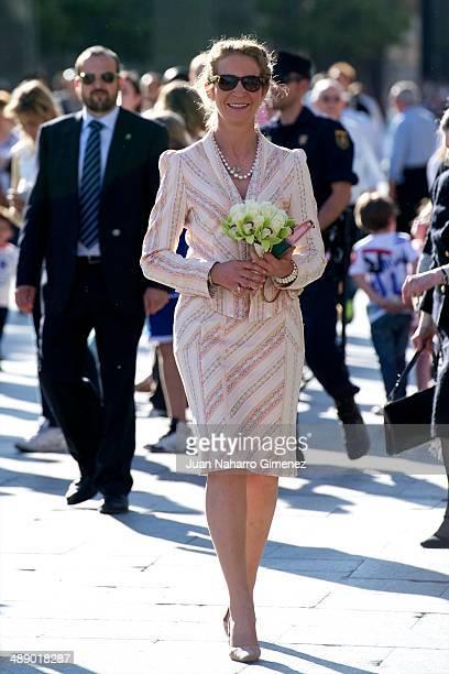 "Princess Elena of Spain visits the ""Basilica de Nuestra Senora del Pilar"" and prays to the Virgin of the Pillar on May 9, 2014 in Zaragoza, Spain."