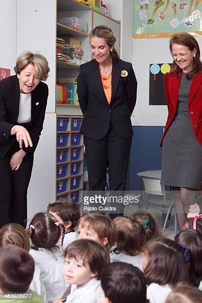 Princess Elena of Spain visits Tres Olivos School at Tres Olivos School on April 9 2014 in Madrid Spain