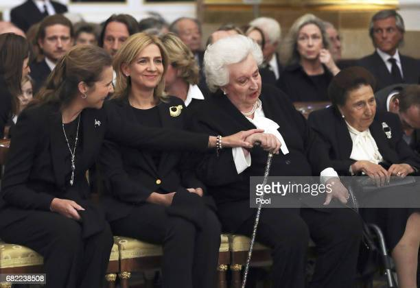Princess Elena Princess Cristina Infanta Pilar Duchess of Badajoz and Infanta Margarita Duchess of Soria attend the funeral of the Infanta Alicia de...