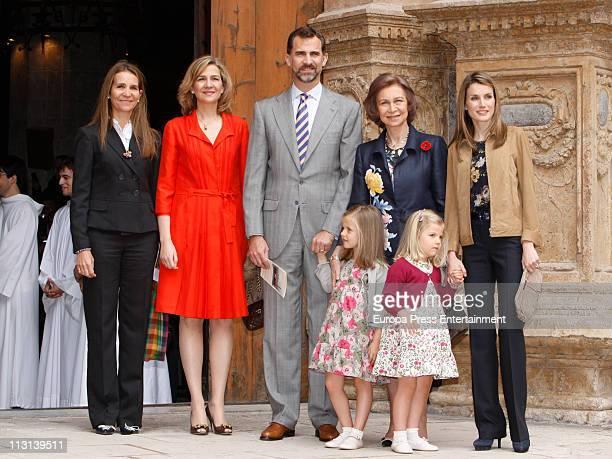 Princess Elena Princess Cristina Prince Felipe Queen Sofia of Spain Princess Letizia and kids Princess Leonor and Princess Sofia attend Easter Mass...