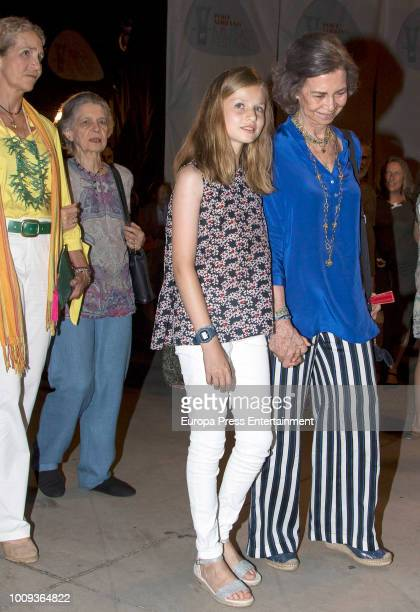 Princess Elena Princess Irene of Greece Princess Leonor of Spain and Queen Sofia attend Ara Malikian's concert at Port Adriano on August 1 2018 in...