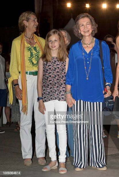 Princess Elena Princess Leonor of Spain and Queen Sofia attend Ara Malikian's concert at Port Adriano on August 1 2018 in Palma de Mallorca Spain