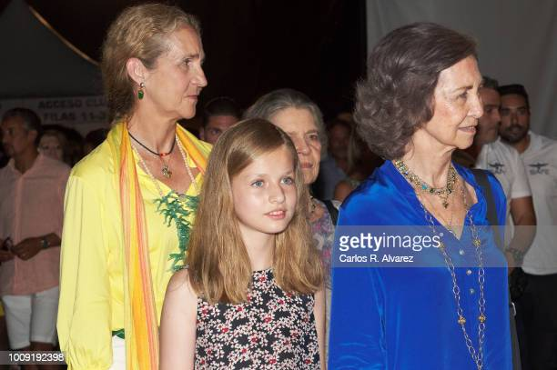 Princess Elena Princess Leonor of Spain Princess Irene of Greece and Queen Sofia attend Ara Malikian concert at Port Adriano on August 1 2018 in...