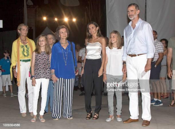 Princess Elena Princess Leonor of Spain Princess Irene of Greece Queen Sofia Queen Letizia of Spain Princess Sofia of Spain and King Felipe VI of...