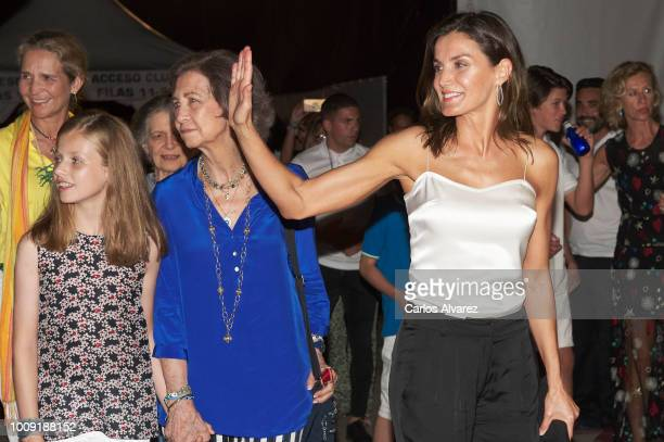 Princess Elena Princess Leonor of Spain Queen Sofia and Queen Letizia of Spain attend Ara Malikian concert at Port Adriano on August 1 2018 in Palma...