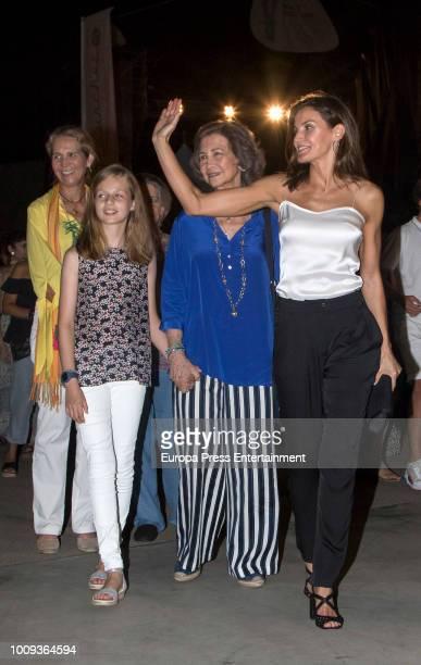 Princess Elena Princess Leonor of Spain Queen Sofia Queen Letizia of Spain attend Ara Malikian's concert at Port Adriano on August 1 2018 in Palma de...