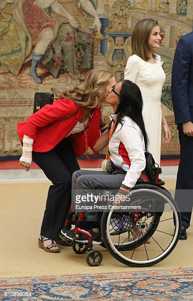 Princess Elena receives the Spanish medalist in 2016 Rio Paralympic Games Teresa Perales at El Pardo Palace on September 28 2016 in Madrid Spain