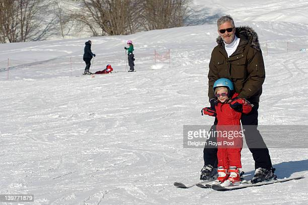 Princess Eleonore and Prince Philippe of Belgium pictured during their skiing holiday on February 17 2012 in Verbier Switzerland