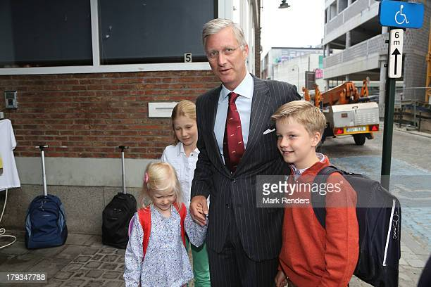 Princess Eleonore Crown Princess Elisabeth King Philippe and Prince Gabriel of Belgium arrive for the first day of school at the SintJanBerchmans...