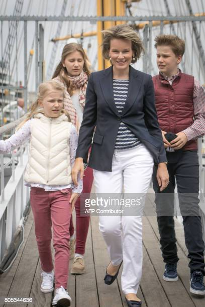 Princess Eleonore Crown Princess Elisabeth Queen Mathilde of Belgium and Prince Gabriel visit the Mercator sailing ship in Oostende on July 1 2017...