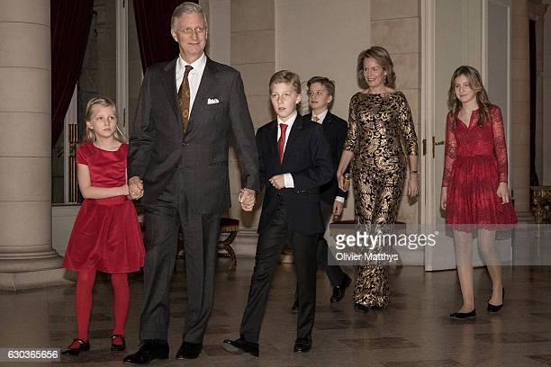 Princess Eleonore King Philip of Belgium Prince Gabriel Prince Emmanuel Queen Mathilde of Belgium and Princess Elisabeth attend the Christmas Concert...
