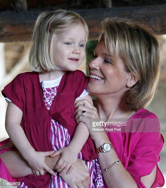 Princess Eleonore of Belgium and Princess Mathilde of Belgium photographed at the educational centre 'Archeosite' on July 8 2011 in Aubechies Belgium