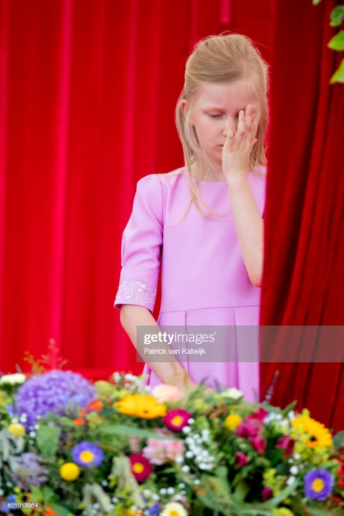 Princess Eleonore of Belgium attends the military parade on the occasion of the Belgian National Day in the front of the Royal Palace on July 21, 2017 in Brussels, Belgium.
