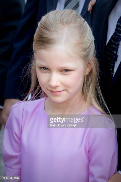 Princess Eleonore of Belgium attends the Te Deum mass on the occasion of the Belgian National Day in the Cathedral on July 21 2017 in Brussels Belgium