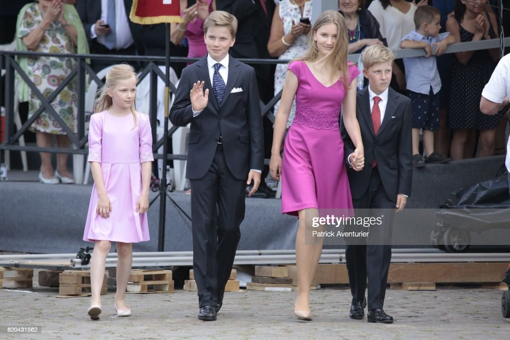 Princess Eleonore of Belgium, Prince Gabriel of Belgium, Princess Elisabeth of Belgium and Prince Emmanuel of Belgium of Belgium attend the Te Deum mass on the occasion of the Belgian National Day in the Cathedral on July 21, 2017 in Brussels, Belgium.