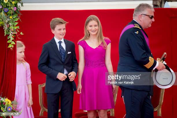 Princess Eleonore of Belgium Prince Gabriel of Belgium Princess Elisabeth of Belgium attend the military parade on the occasion of the Belgian...
