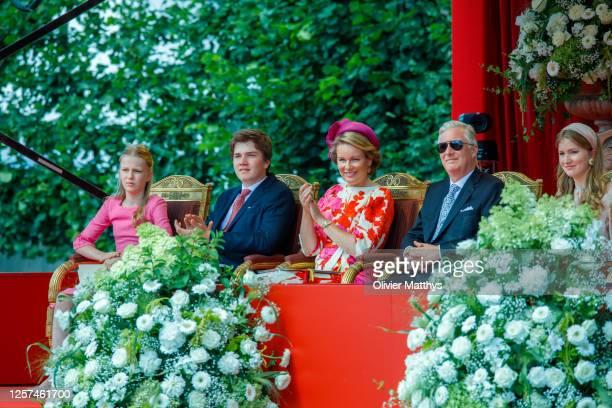 Princess Eleonore of Belgium, Prince Gabriel of Belgium, Queen Mathilde of Belgium, King Philippe of Belgium and Princess Elisabeth of Belgium attend...