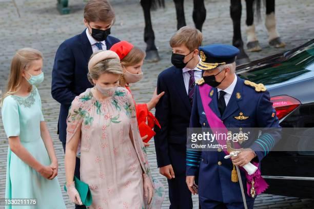 Princess Eleonore of Belgium, Prince Gabriel of Belgium, Queen Mathilde of Belgium, King Philippe of Belgium, Prince Emmanuel of Belgium and Princess...