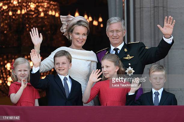 Princess Eleonore of Belgium Prince Gabriel of Belgium Queen Mathilde of Belgium Princess Elisabeth of Belgium King Philippe of Belgium and Prince...