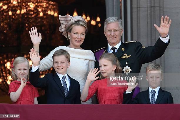 Princess Eleonore of Belgium, Prince Gabriel of Belgium, Queen Mathilde of Belgium, Princess Elisabeth of Belgium, King Philippe of Belgium and...