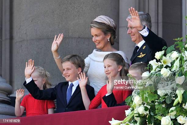Princess Eleonore of Belgium Prince Gabriel of Belgium Queen Mathilde of Belgium Princess Elisabeth of Belgium King Philippe of Belgium and Prince...