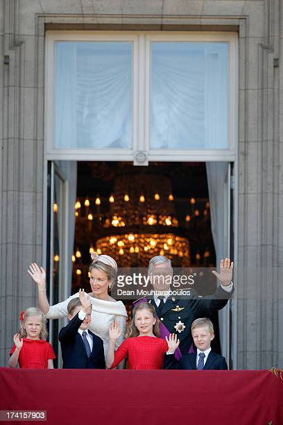 Princess Eleonore of Belgium Prince Gabriel of BelgiumQueen Mathilde of BelgiumPrincess Elisabeth of Belgium King Philippe of Belgium and Prince...