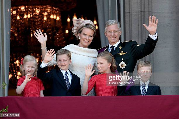 Princess Eleonore of Belgium Prince Gabriel of BelgiumQueen Mathilde of Belgium rincess Elisabeth of Belgium King Philippe of Belgium and Prince...
