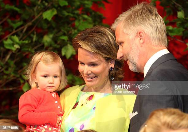 Princess Eleonore of Belgium Princess Mathilde of Belgium and Prince Philippe of Belgium visit the 34th Floralies of Ghent official launch on April...