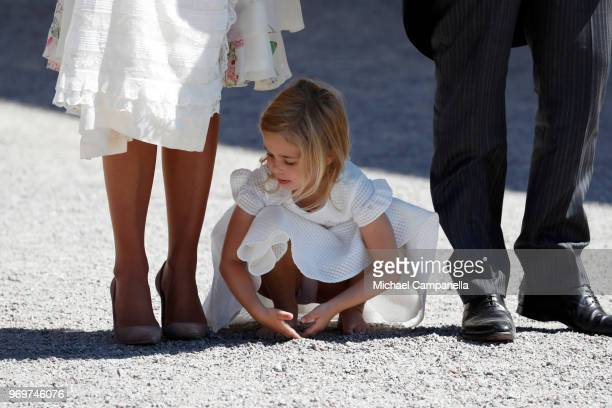 Princess Eleonore of Sweden plays after the christening of Princess Adrienne of Sweden at Drottningholm Palace Chapel on June 8 2018 in Stockholm...