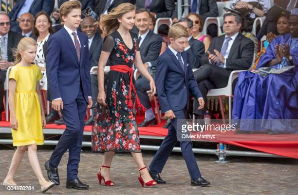 Princess Eleonore Prince Gabriel Princess Elisabeth and Prince Emmanuel arrive at the National day Parade on July 21 2018 in Brussels Belgium