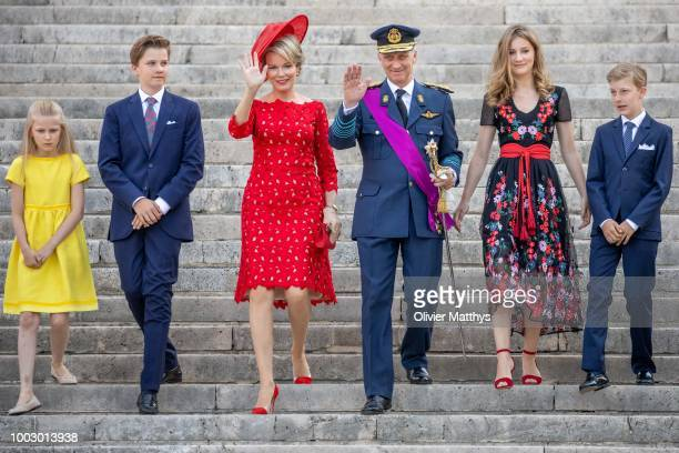Princess Eleonore Prince Gabriel Queen Mathilde King Philip of Belgium Princess Elisabeth and Prince Emmanuel attend the Te Deum at the Saint Gudule...