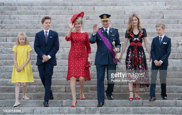 Princess Eleonore, Prince Gabriel, Queen Mathilde, King Philip of Belgium, Princess Elisabeth and Prince Emmanuel attend the Te Deum at the Saint...