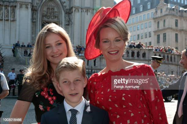 Princess Eleonore Prince Gabriel Queen Mathilde King Philip of Belgium Princess Elisabeth and Prince Emmanuel attend the Te Deum at the Saint Gudule...