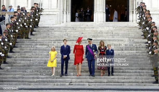 Princess Eleonore Prince Gabriel Queen Mathilde of Belgium King Philippe Filip of Belgium Crown Princess Elisabeth and Prince Emmanuel down the...