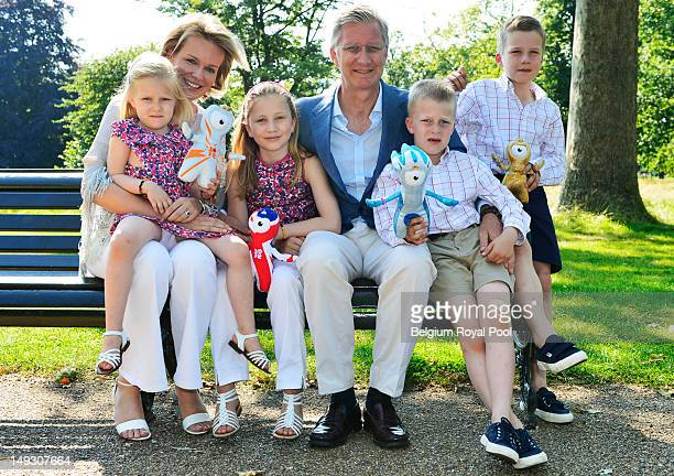 Princess Eleonore Princess Mathilde Princess Elisabeth Prince Philippe Prince Gabriel and Prince Emmanuel of Belgium pose for a photo during a visit...