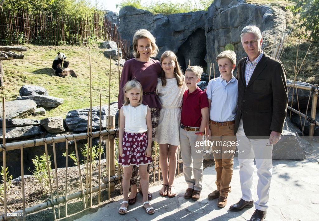 Princess Eleonore, Queen Mathilde of Belgium, Crown Princess Elisabeth, Prince Emmanuel, Prince Gabriel and King Philippe of Belgium pose for a family portrait during a photoshoot of the Belgian Royal Family's vacation at animal park Pairi Daiza in Cambron-Casteau, Brugelette, on July 11, 2015.