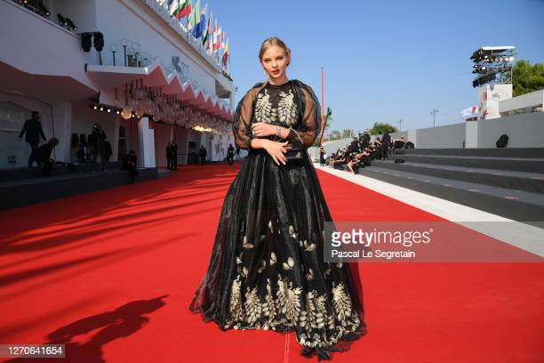 """Princess Elisa walks the red carpet ahead of the movie """"The Disciple"""" at the 77th Venice Film Festival at on September 04, 2020 in Venice, Italy."""