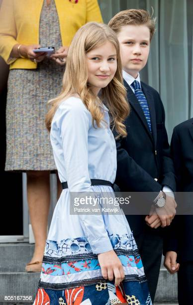 Princess Elisabeth and Prince Gabriel of Belgium attend the 80th birthday celebrations of Belgian Queen Paola on June 29, 2017 in Waterloo, Belgium....
