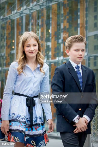 Princess Elisabeth and Prince Gabriel of Belgium attends the 80th birthday celebrations of Belgian Queen Paola on June 29 2017 in Waterloo Belgium...