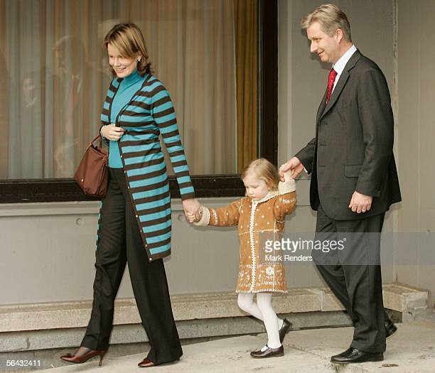 Princess Elisabeth arrives with her parents Princess Mathilde and Prince Philippe of Belgium to visit Prince Laurent and Princess Claire Coombs and...