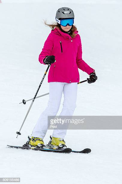 Princess Elisabeth Duchess of Brabant skis during their family skiing holiday on February 08 2016 in Verbier Switzerland