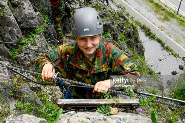 Princess Elisabeth of Belgium abseils during a three-day internship at the Commando Training Center, as she completes her year at the Royal Military...